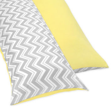 Sweet JoJo Designs Yellow and Grey Zig Zag Full Length Double Zippered Body Pillow Case Cover | Overstock.com