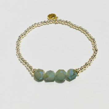 Lizas Bead Bracelets-4 Clear Green and Gold