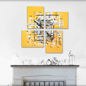 Original 4 piece abstract painting. Geometric yellow painting. Large painting.