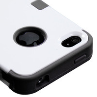For iPhone 4 4S Rubber IMPACT TUFF HYBRID Case Skin Phone Cover White Black