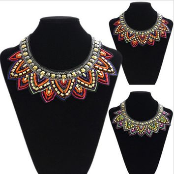 New Fashion Manual Crafts Collar Exaggerated Nation Wind Pure Bead Embroidery Personality Necklace