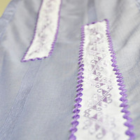 Lilac Table Runner with Cross-stitch Applique