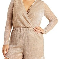 PLUS SIZE RIBBED SHIMMER ROMPER