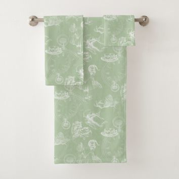 Alice in Wonderland Tea Green Towel Set