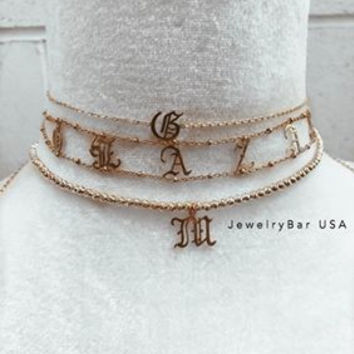 English script Nameplate Choker