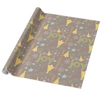 Cute Merry Christmas and Joy Patterned Wrapping Paper