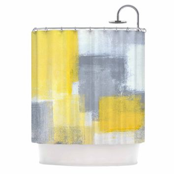 "CarolLynn Tice ""Steady"" Yellow Gray Shower Curtain - Outlet Item"