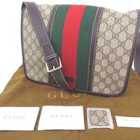 Authentic GUCCI Webbing Sherry Shoulder Bag Cross Body Messenger Unisex 833