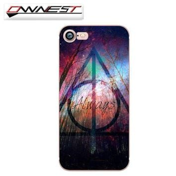 Always Deathly Hollows Free Ship Harry Potter Phone Case For iPhone 7 7Plus 6 6s Plus 5 5s
