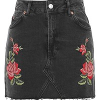 MOTO Rose Embroidered Skirt - Denim - Clothing