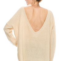 Front & Deep V Line Back Detailed Pullover Sweater 70148