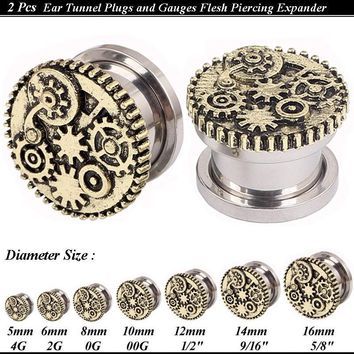 Pair Screw Mechanical Gears Flesh Tunnels Stainless Steel  Plugs  Gauges Body Piercing Jewelry Vintage Ear Reamer Size 5-16mm