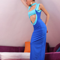 "Handmade Long blue turquoise spandex lycra tricot long cocktail party dress ""Maldives"""