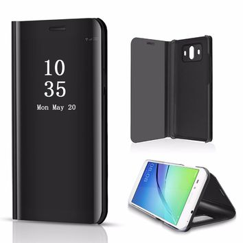 Plating Mirror Case For Samsung S9 S8 Note9 Smart View Flip Stand Cover For iphone XS Max Huawei Mate 20 Lite LG V40 Oneplus 6