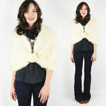 vtg 50s rockabilly pin up cream fuzzy shaggy MOHAIR wrap CAPELET cape STOLE shawl shrug sweater top S M L