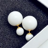 New Fashion jewelry double side 16MM pearl stud gift for women