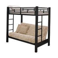 Home Source Industries 13017 Bunk Bed with Convertible Sofa to Full Sized Bed, Black