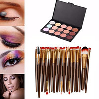 20 pcs/set Makeup Brush Set (15 Colors Concealer + 20 golden BRUSH)
