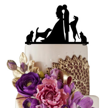 Wedding Cake Topper Bride kissing Groom with Cat and Dog
