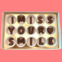 I Miss Your Smile Large Milk Chocolate Letters-Long Distance Gift for Her Him-Made to Order