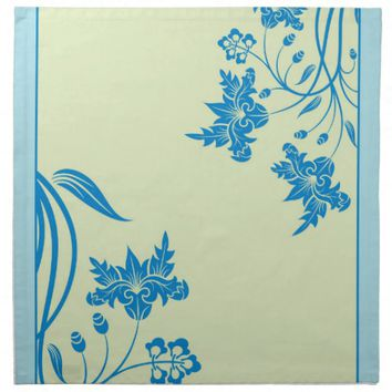 Elegant Blue Swirls Flowers Dinner Cloth Napkins
