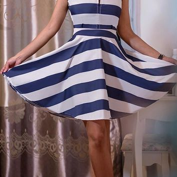 White Striped Draped Cut Out Band Collar Sleeveless Mini Dress