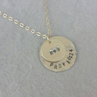 Double Circle Necklace / Initial / Stamed / Personalized / Name / Date / Silver and Gold / Kids / Gift / Mom / Bridesmaid / initials
