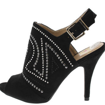 TROOPS BLACK STUDDED PEEP TOE SLINGBACK HEEL