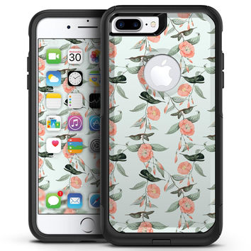 The Coral Flower and Hummingbird All Over Pattern - iPhone 7 or 7 Plus Commuter Case Skin Kit