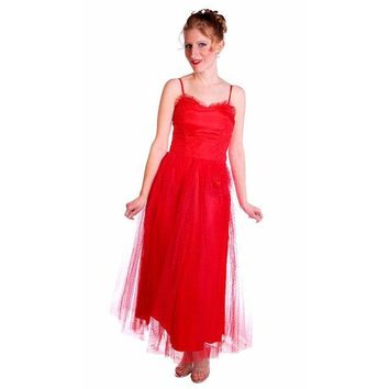 Vintage Dress Red Tulle Strapless Prom Gown w/ Rosettes Size 2-4 1950s