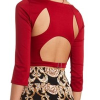 Cut-Out Backless Crop Top by Charlotte Russe - Wine