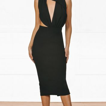 Indie XO Cut To The Chase Black Sleeveless Plunge V Neck Asymmetric Halter Bodycon Midi Dress
