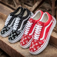 Sale LV x Supreme x Vans Customise Old Skool Black Red Casual Shoes