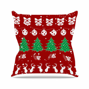 "Famenxt ""Christmas Vibes Red"" Red Green Illustration Throw Pillow"