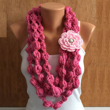 pink bubble crochet Infinity scarf with crochet flower removable brooch pin