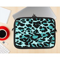The Vector Hot Turquoise Cheetah Print Ink-Fuzed NeoPrene MacBook Laptop Sleeve