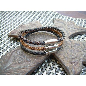 Braided Leather Bracelet with Triple Barrel Stainless Steel Magnetic Clasp