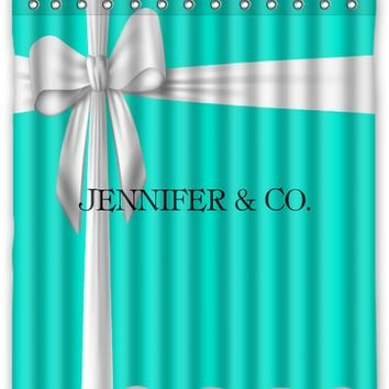 Charming Tiffany Blue Box Inspired Personalized Shower Curtain