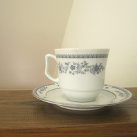 Vintage German Democratic Republic JLMENAU Blue and White Floral Tea Cup and Saucer