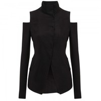 Cut-out stretch satin crepe blazer
