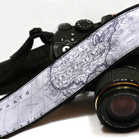 Grey World Map Camera Strap. Photo camera Accessories. SLR, DSLR Camera Strap. Gift For Photographer.