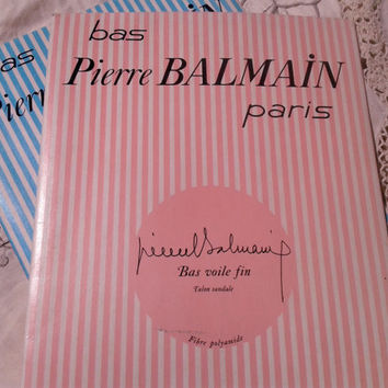 Nylon Stockings Sheer Hosiery French High Fashion Pierre Balmain Paris Sandals Garter Stockings Foot Size : 8 / 9 Vintage from 60's - New