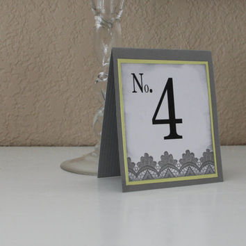 Handmade Table Numbers, Gray and Yellow, Lace, Vintage, Wedding, Special Event, Reception, Tented