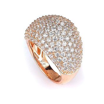 Micro Pave Wide Dome Cubic Zirconia Ring (14K Rose Gold)