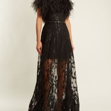 Feather-trimmed embroidered strapless tulle gown | Elie Saab | MATCHESFASHION.COM US