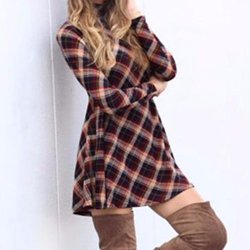Women's Red/Black Plaid Mock Neck Short Mini Tunic/Dress