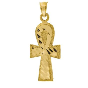Diamond Cut Ankh Cross Pendant in 10k Yellow Gold Christian Religious Jewelry