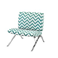 "Accent Chair - Teal "" Chevron "" Fabric / Chrome Metal"