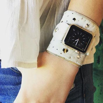 The Rockstar Apple Watch Band in White w/ Crystals & Mirrored Studs