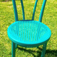 Turquoise Vintage Heart Shaped Bistro / Cafe Chair